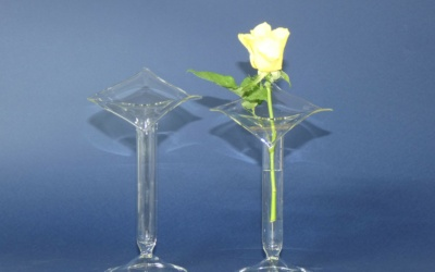 Vase klar Glas mit Rand in Blattform