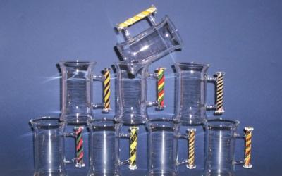 Tee Glas einfach mit farbigem Henkel / Griff,  Glas Rührer